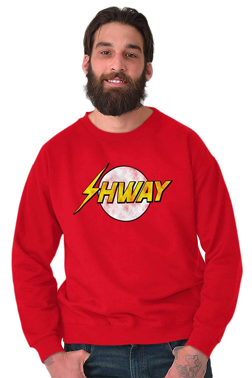 Brisco Brands Cool Shway Comic Book Hero Saying Flash Crewneck Sweatshirt