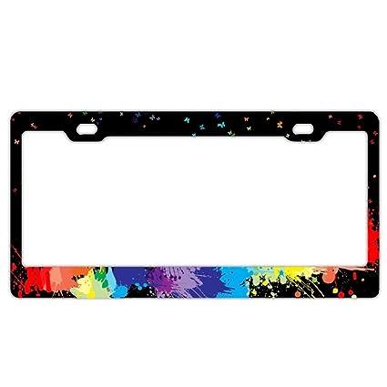 Amazon.com: Butterfly Splash License Plate Frames Fine Slim Frame ...