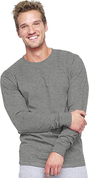 7cac617a Hanes Adult Beefy-T Long-Sleeve T-Shirt_Charcoal Heather_XXX-Large