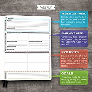 "Panda Planner Pro - Best Daily Planner for Happiness & Productivity - 8.5 x 11"" Softcover - Undated Day - Guaranteed to Get You Organized - Gratitude & Goals Journal"