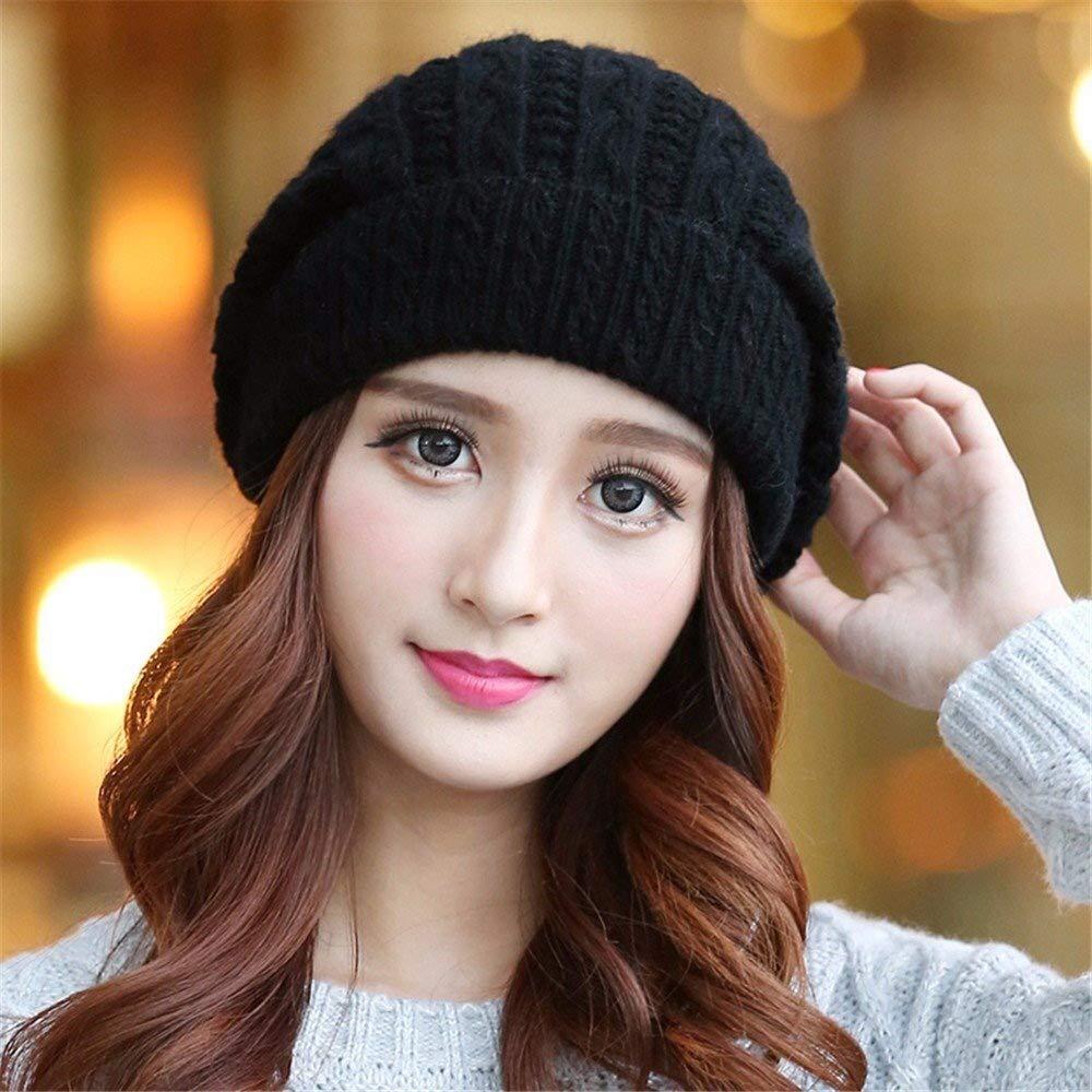 Tuyishangmao Knit Beanie Hat, Casual Solid Color Fur Pompoms Winter Beanie Hat (Color : Black, Size : M)