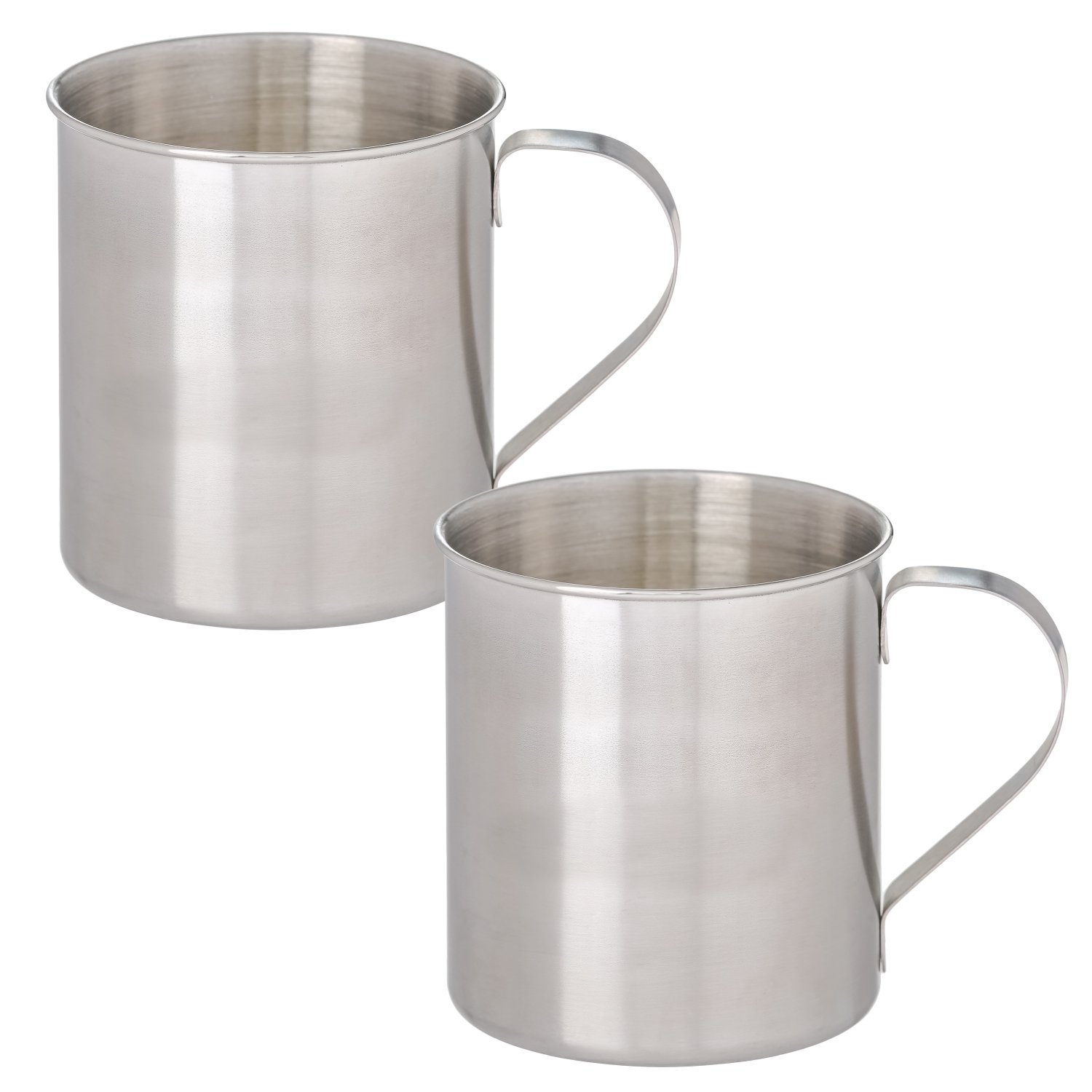Thirsty Rhino Seles, Mini Stainless Steel Moscow Mule Mug, Brushed Silver Finish, 8 oz (Set of 2)