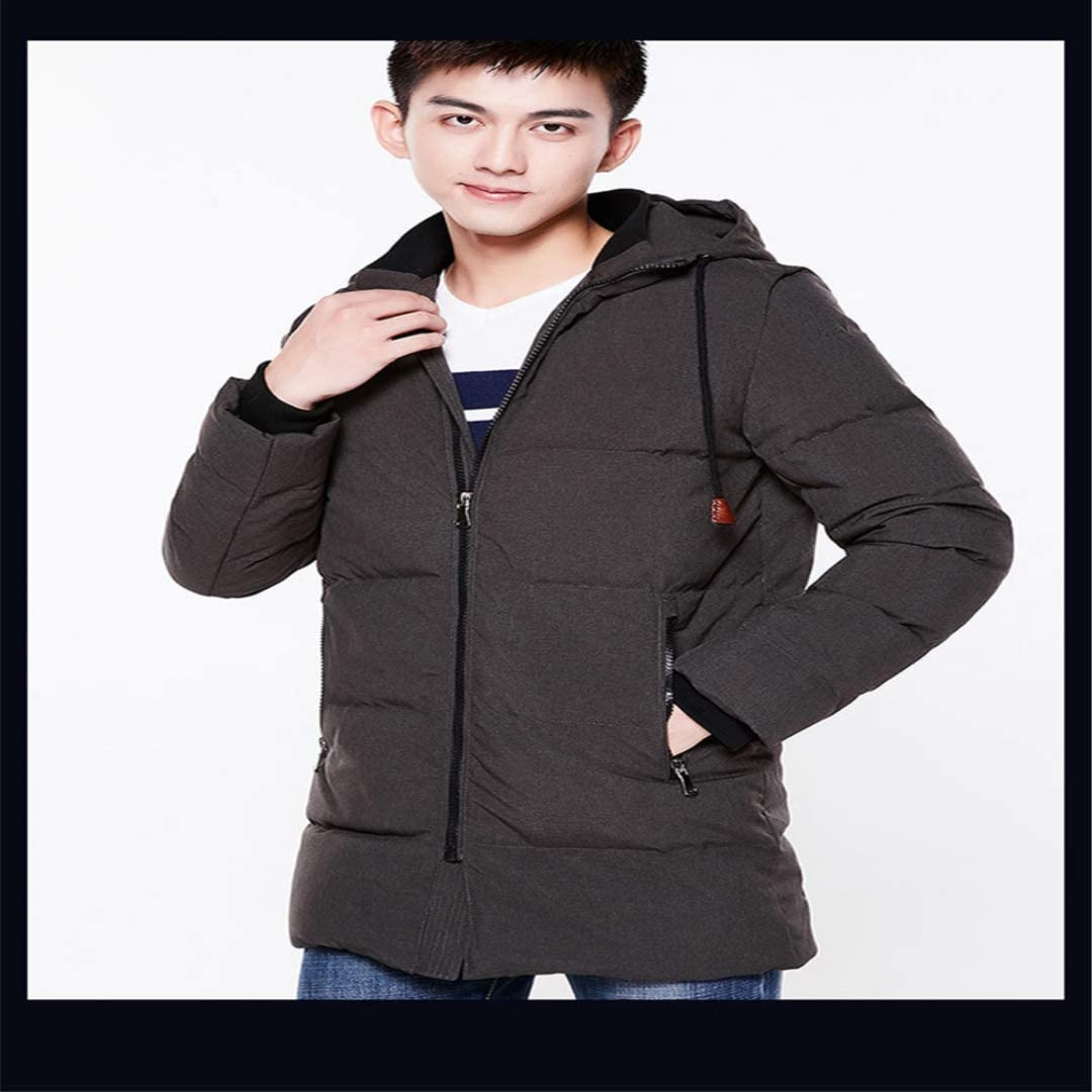 YIKELA New Wild Long-Sleeved Hooded Long Korean Version of The Down Jacket Mens Large Size Down Jacket Wind and Cold