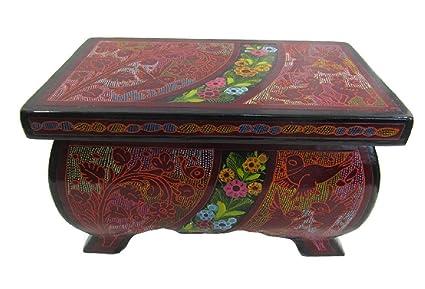 olinala lacado y pintado a mano tallada incised rectangular grande Footed el lacado de madera joyería