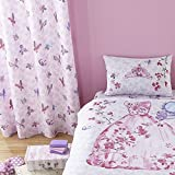 Catherine Lansfield Kids Teens Window Curtain Set Lined Panels with Grommet Top 66″ Wide x 72″ Drop Pink Glamour Princess For Sale