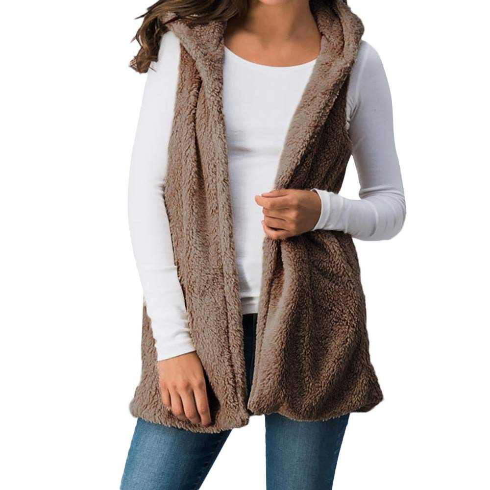 iLUGU Women Lady Faux Fur Hooded Solid Outwear Sleeveless Top Vest Pockets Warm Cami Hunting Waistcoat Brown