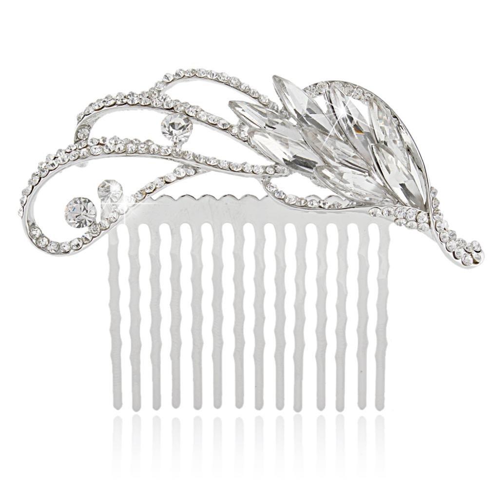 Ever Faith Silver-Tone Rhinestone Crystal Art Deco Floral Wedding Hair Comb N03689-1