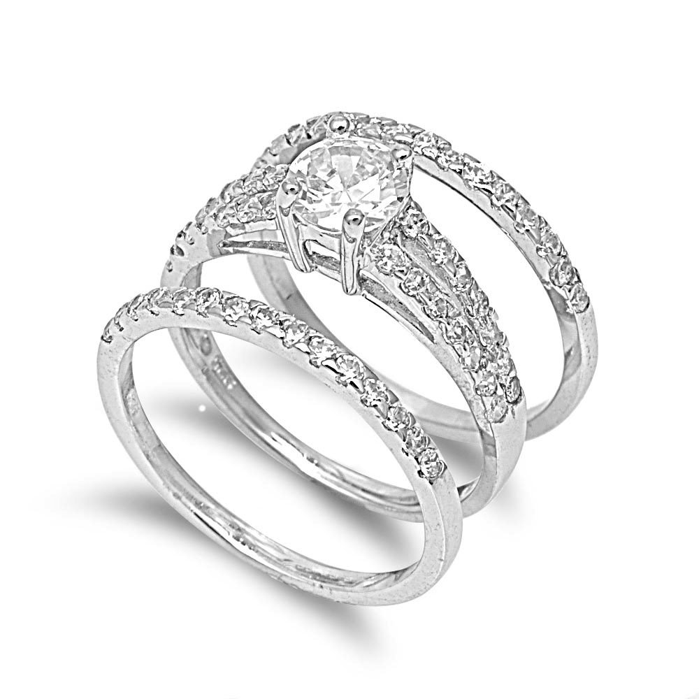 CloseoutWarehouse Round Center Cubic Zirconia Set of 3 Bridal Ring Sterling Silver Size 10