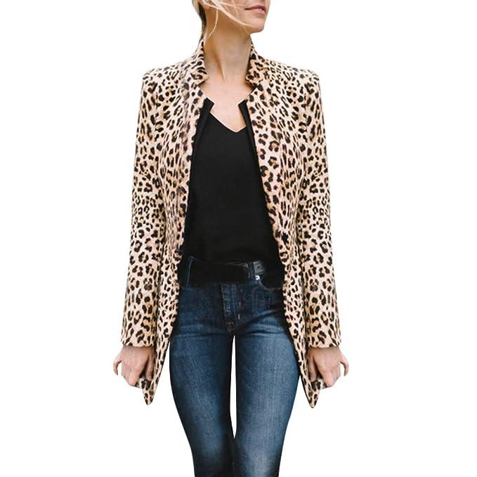 ❤ Tefamore Mujer Chaqueta Leopardo Sexy Invierno Cálido ...