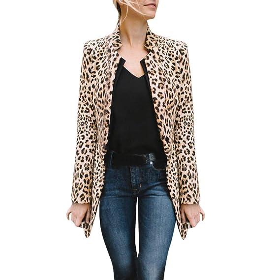 MEIbax Moda mujer abrigos y tops calientes Leopardo de Las Mujeres Impreso Invierno cálido Abrigo de Viento cálido Chaqueta de Punto Chaqueta de Punto ...