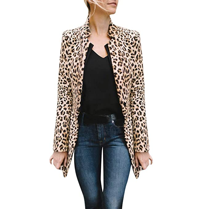 Italily Donne Leopardo Cardigan Manica Lunga Pullover