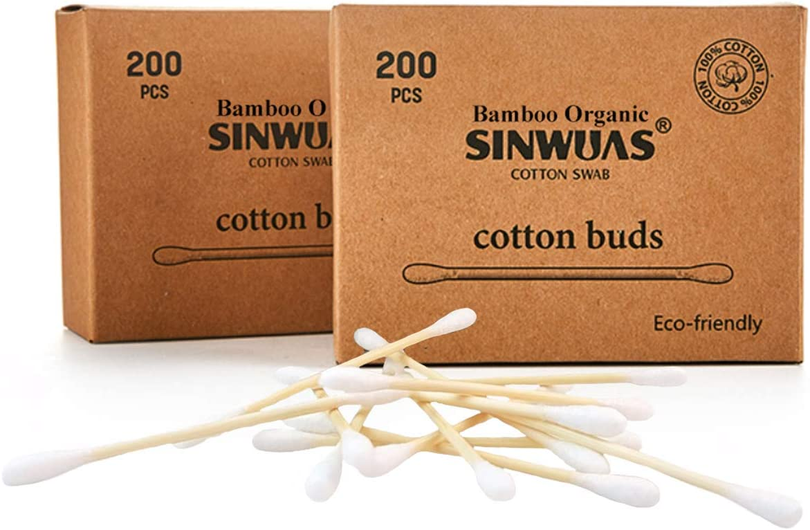 200 Pieces Bamboo Cotton Buds Box of 1 100/% Biodegradable Organic Wooden Plastic Free Environmentally Clean Packaging