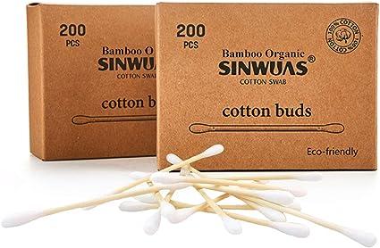 Bambú algodón Buds caja de 1 (200 piezas) 100% biodegradable ...