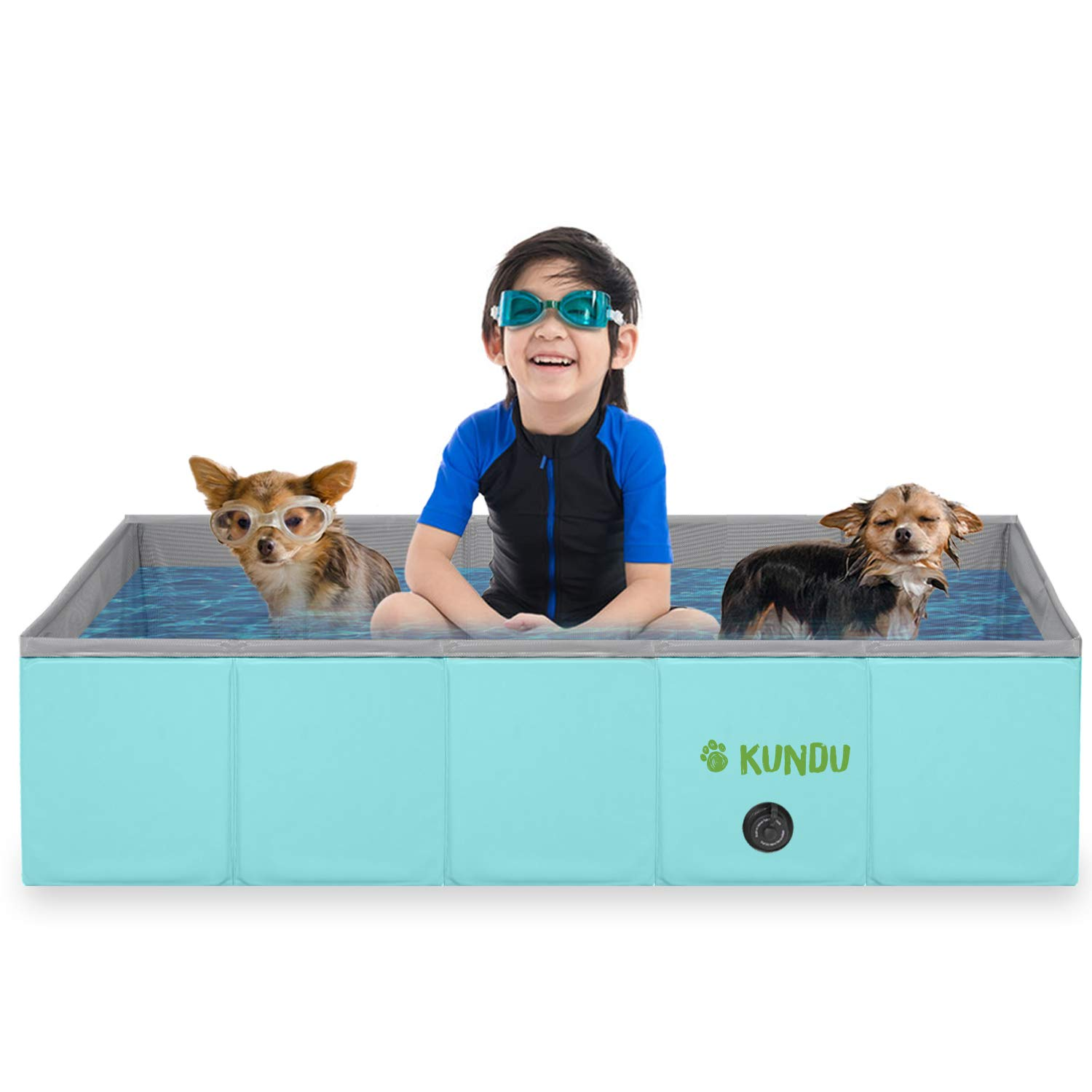 Kundu Rectangular (37'' x 24'' x 10'') Heavy Duty PVC Pets & Kids Outdoor Pool/Bathing Tub - Portable & Foldable - Medium