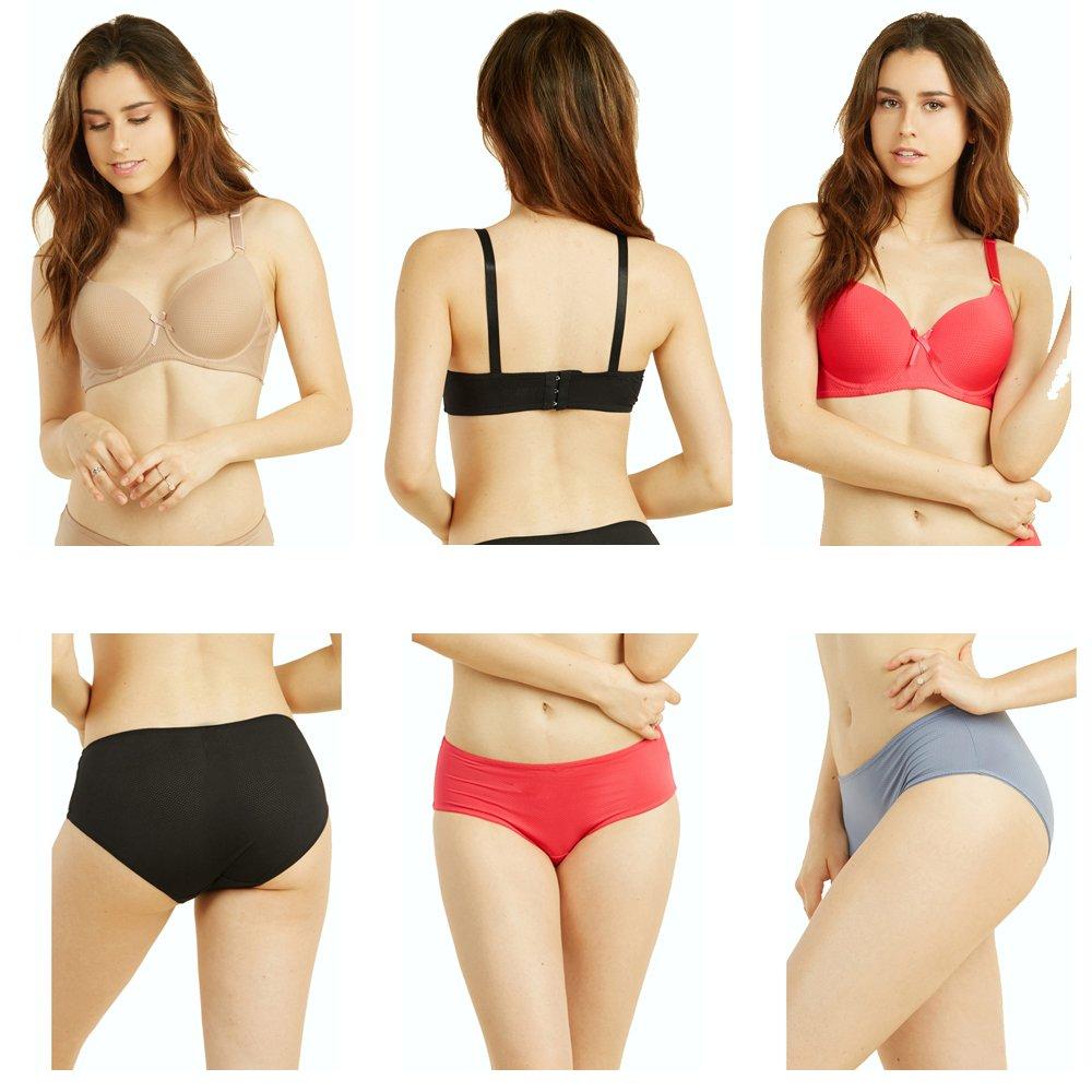 68676a6bec3af Uni Style Apparel Womens Demi Cup Plain Bra and Bikini Panty Set -12 Pack  (6 Pieces Each) (40C