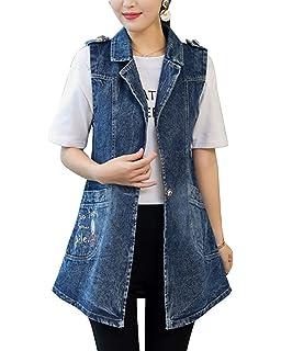 d7da067964ca Jeansmantel Damen Lang Elegante Vintage Embroidery Große Größen Jeansweste  Ärmellos Jungen Chic Revers Freizeit Mode Frühling