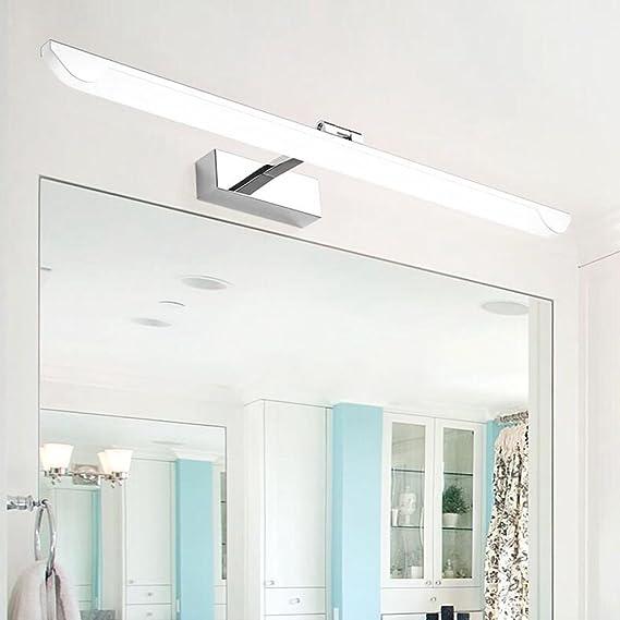 BiuTeFang LED Lámpara de Espejo Espejo Luminoso LED para baño con lámparas de Pared para baño con Espejo luz Armario Moderno Simple estanco antivaho Espejo con luz Frontal (Blanco) 53CM 12W: Amazon.es: