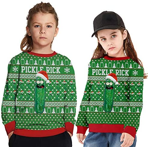 Belovecol Kids Boys Christmas Sweatshirt Girls 3D Printed Ugly Sweater Xmas Party Pullover Jumper for 4-16 Years