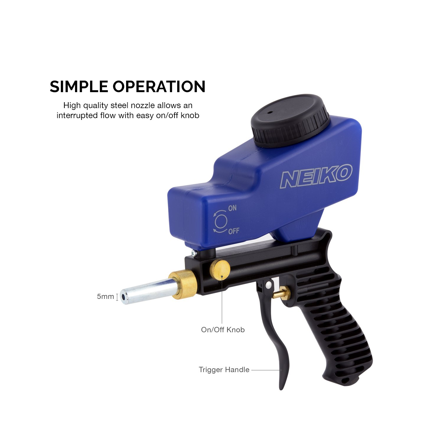 Neiko 30068A Abrasive Air Sand Blaster Handheld Gun   Replaceable Steel Nozzle   Various Media Compatible Gravity Feed Hopper by Neiko (Image #3)