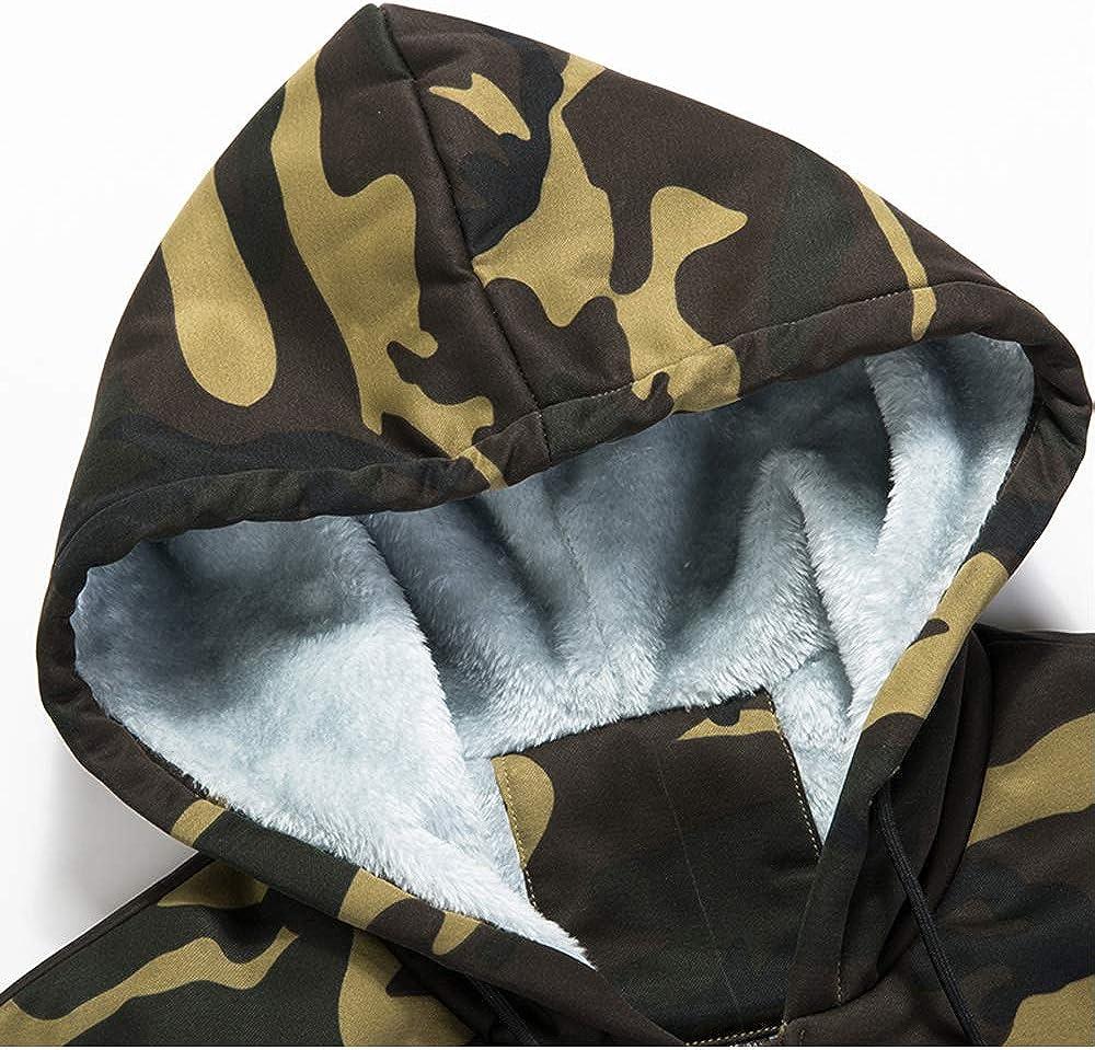 Volwassan Fleece Mens Hooded Jacket Padded Zip Hoodie Camo Print Sweatshirt Outwear Casual Coats