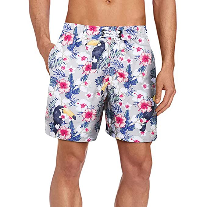 b5b0cad00262b Men's Swim Trunks Quick Dry Swimwear with Meshlining and Pockets Parrot  Print White S