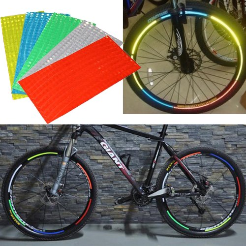Yunwal 5x 5pc Fluorescent MTB Bike Bicycle Cycling Wheel Rim Stickers Reflective Decal Tape---5 Different Random Color (Green Wheel Rim Tape compare prices)