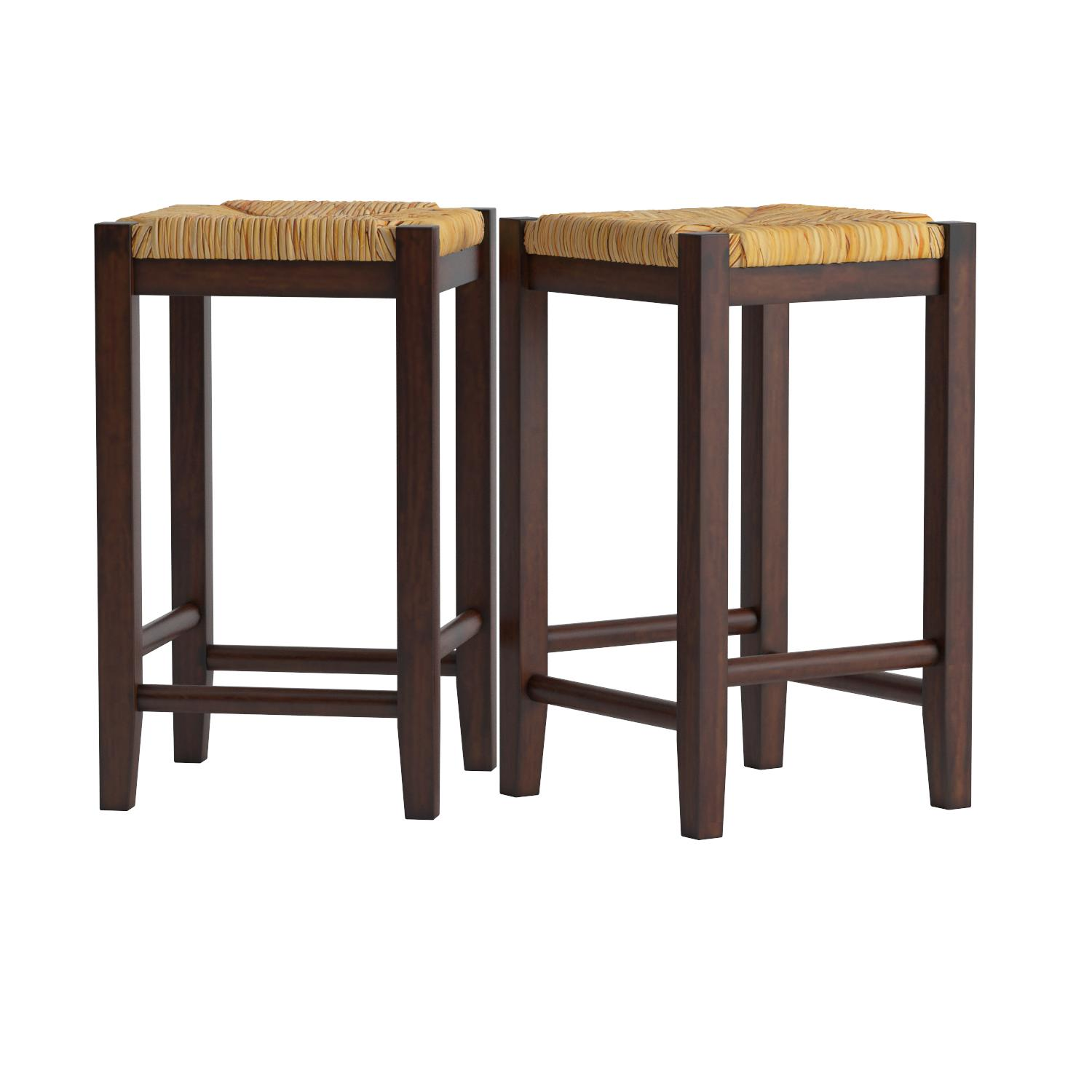 Amazon Bar Stool 24 Inch Rush Seat Walnut Finish S 2 Set