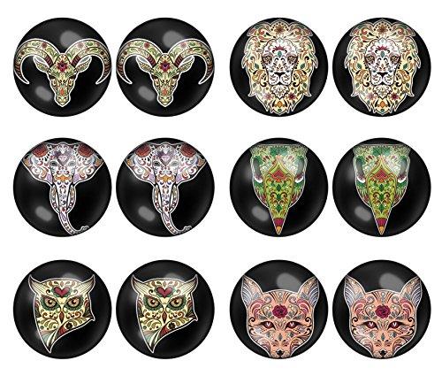 LilMents Lot de 6paires de boucles d'oreilles à tige unisexes en acier inoxydable Motif animaux Noir