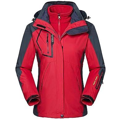 Zilee Mujer Chaqueta con Capucha de Esquí - 3 en 1 Traje Caliente Transpirable Abrigo de Nieve a Prueba de Viento Vellón Interior para Esquiar ...
