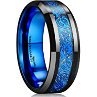 King Will DRAGON Men Tungsten Carbide Ring 8mm Silver/Blue/Black Celtic Dragon Wedding Band Polish Finish