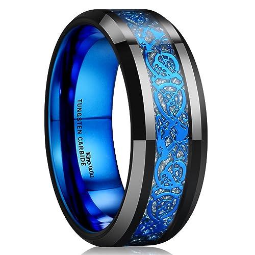 Charming King Will DRAGON Blue Celtic Dragon Tungsten Carbide Ring 8mm Mens Black  Wedding Band Polished Comfort