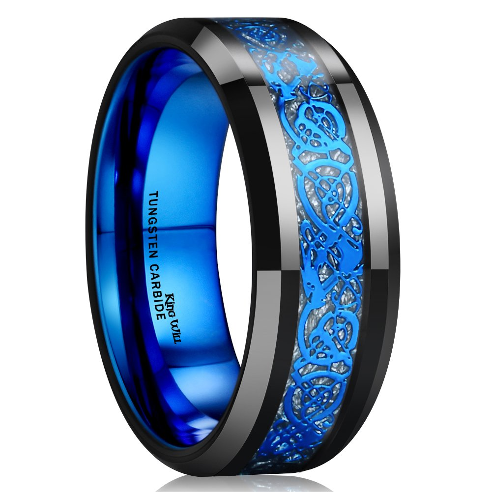King Will DRAGON Mens Black Tungsten Carbide Ring 8mm Blue Celtic Dragon Wedding Band Comfort Fit High Polished(9)
