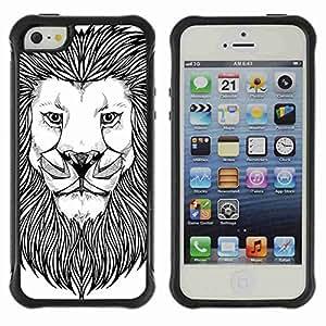 A-type Arte & diseño Anti-Slip Shockproof TPU Fundas Cover Cubre Case para Apple iPhone 5 / 5S ( Majestic Lion Painting )