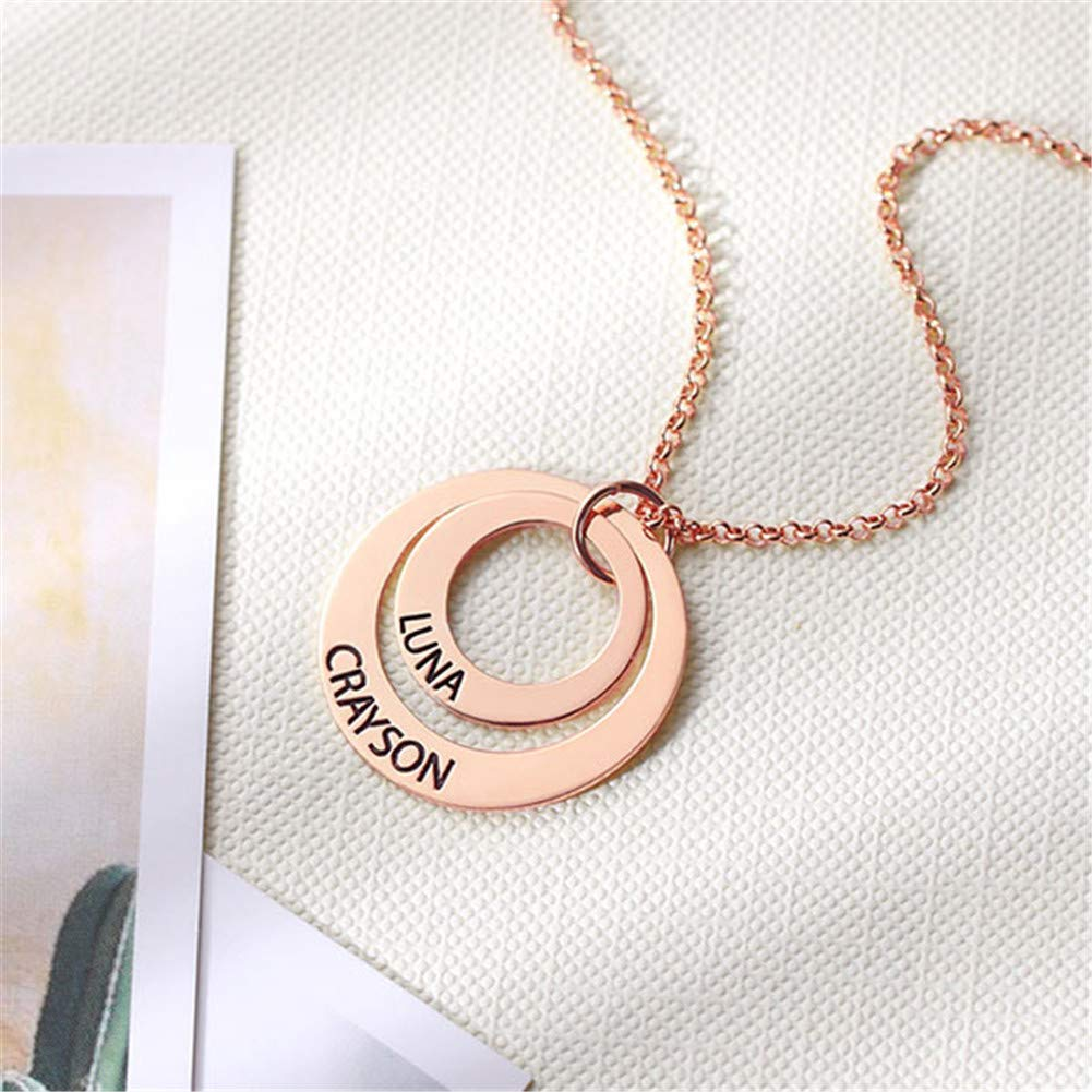 Personalized 2 Disc Name Necklace Engraved Pendant Jewelry Custom Made with Any Names