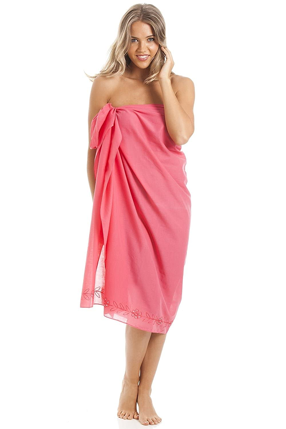 Camille Womens Ladies Pink Long Length Sarong with Floral Embroidery