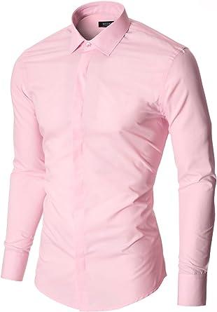 MODERNO - Slim Fit Camisa Formales para Hombre (MOD1447LS) Rosa EU S: Amazon.es: Ropa y accesorios