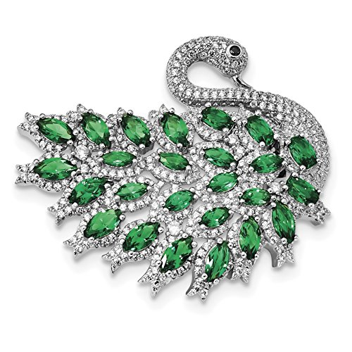 925 Sterling Silver Rhodium-plate CZ and Green Spinel Enamel Swan Slide and Pin for (Rhodium 925 Sterling Silver Pin)