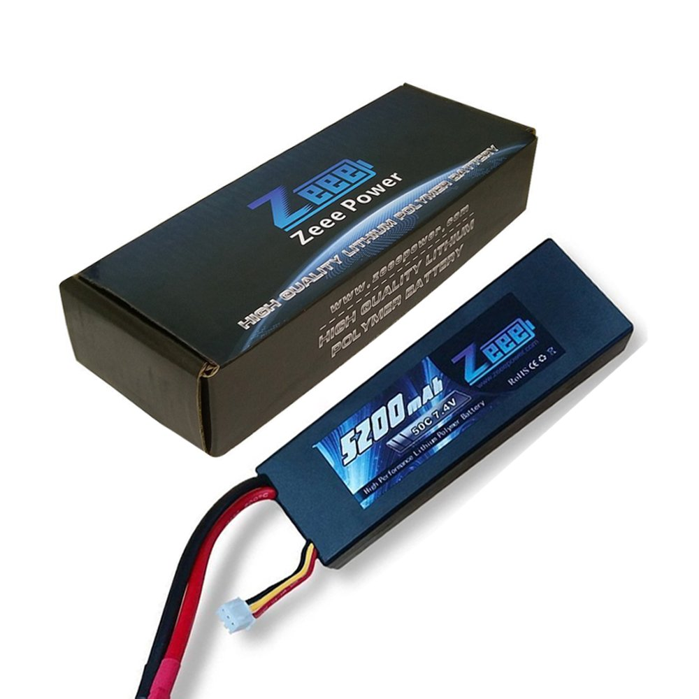 Zeee 2s Lipo Battery 7.4V 50C 5200mAh RC Lipo Batteries Hard Case with Dean-Style T Connector for RC Vehicles Car,Trucks(2 Pack) by Zeee (Image #1)