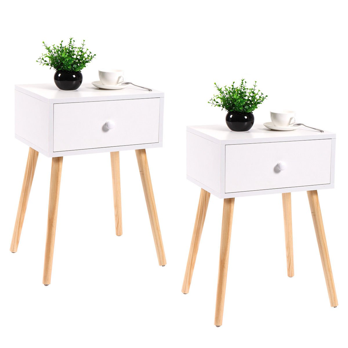 4723761b2e2 Amazon.com  LAZYMOON 2-Pack White Side End Table Nightstand Mid-Century  Accent Wood Side Table  Kitchen   Dining