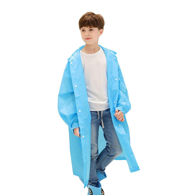 Arteesol Rain Coats for Kids, Children EVA Rain Poncho with Hood and Sleeves