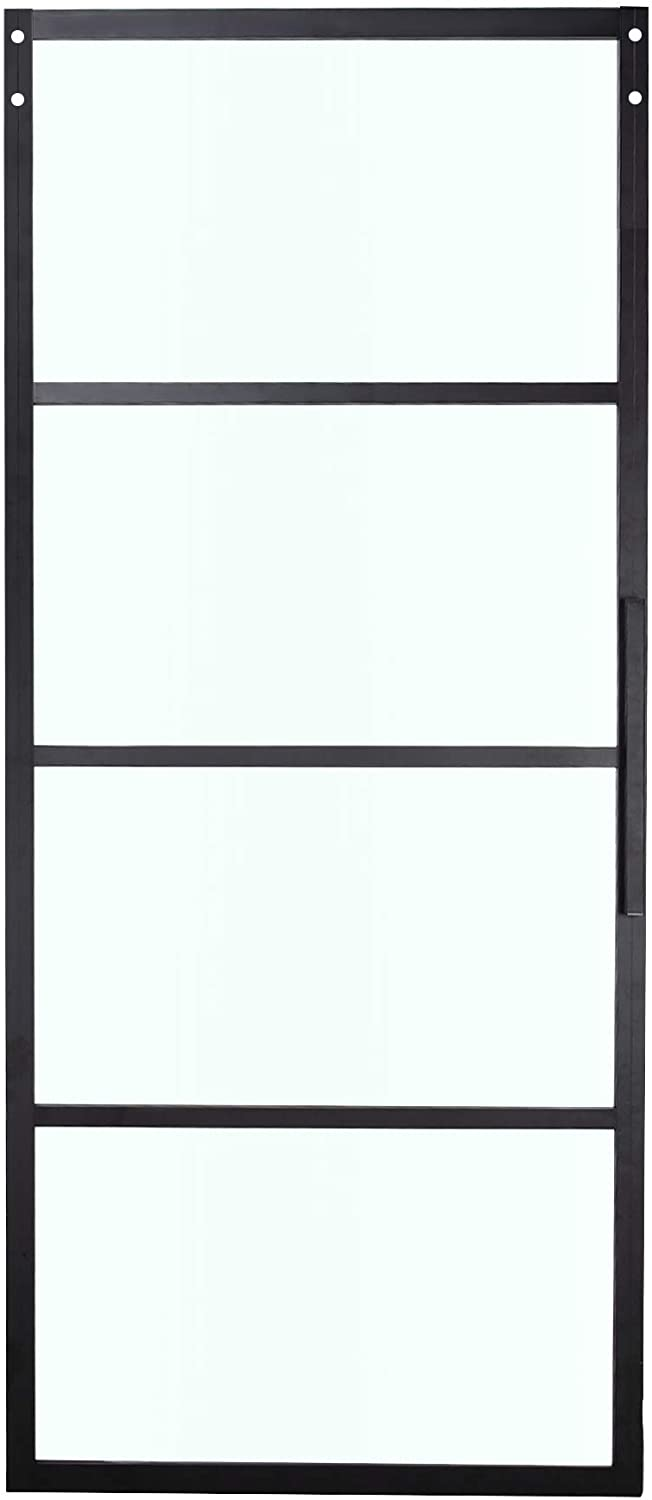 BELLEZE 36in x 84in Modern Cottage French Barn Door Panel Clear Tempered Glass Aluminum Pre Drilled Frame, Black