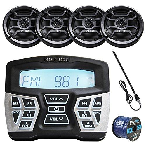 - Hifonics TPS-MR1 Marine Bluetooth AM/FM Gauge Mount Radio, 4X 6.5 Inch Marine 120-Watt 2-Way Speakers w/Grills (Black), Enrock 50 Foot 16-Gauge Speaker Wire, AM/FM Radio Antenna (Black)