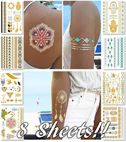 Metallic Temporary Tattoos for Women Teens Girls - 8 Sheets Gold Silver Temporary Tattoos Glitter Tattoo Designs Jewelry Tattoos - 100+ Color Flash Fake Waterproof Tattoo Stickers (Caicos)
