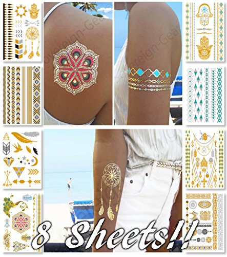 Metallic Temporary Tattoos for Women Teens Girls - 8 Sheets Gold Silver Temporary Tattoos Glitter Tattoo Designs Jewelry Tattoos - 100+ Color Flash Fake Waterproof Tattoo Stickers (Hippie Tattoo Designs)