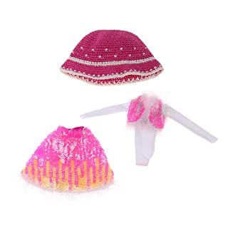 Baoblaze 4 Pezzi Bella Gonna in Miniatura con Accessori per Cappello per Bambole Esclaa 1/6 - Blu