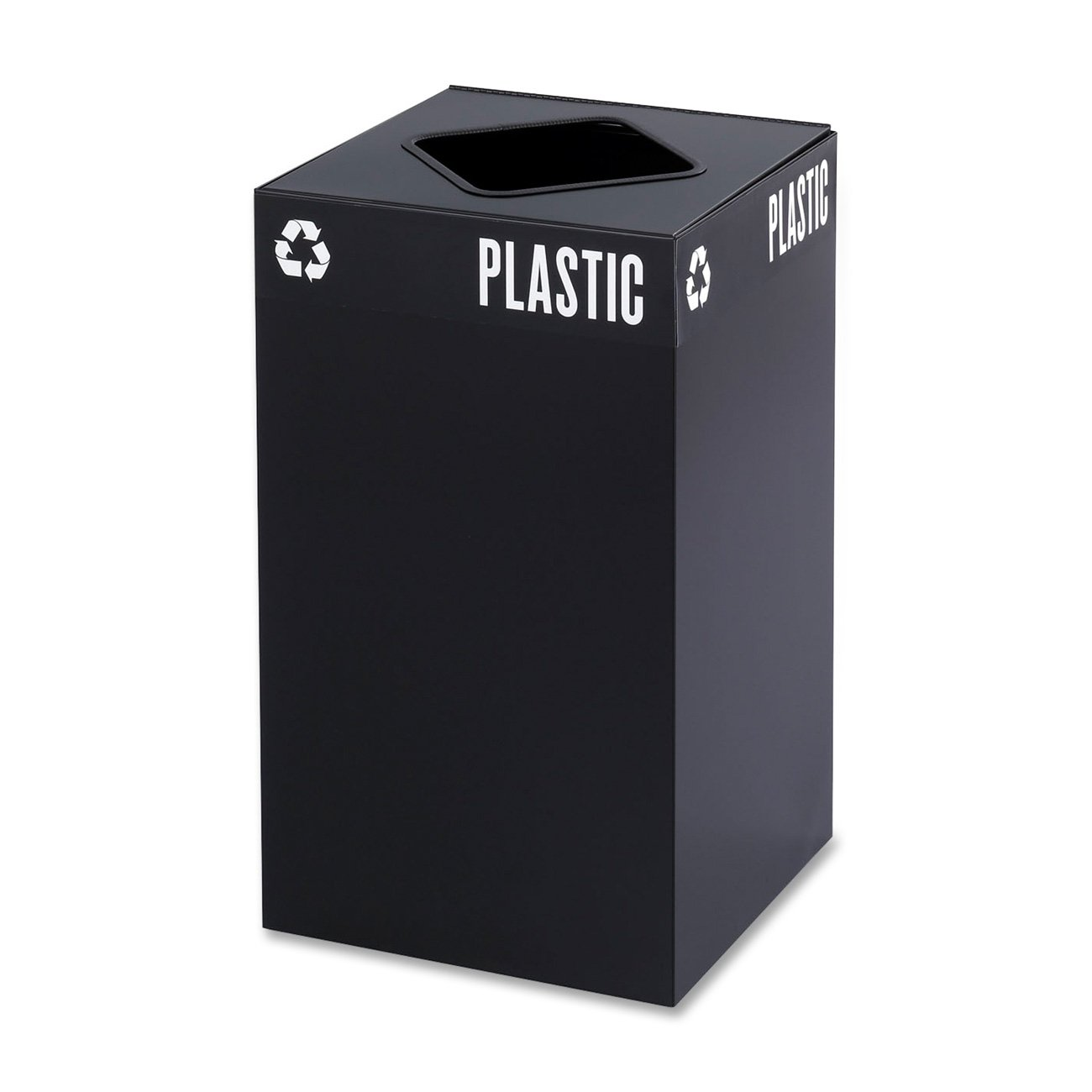 Safco Products 2981BL Public Square Recycling Trash Can Base, 25-Gallon, (Top sold separately), Black