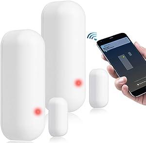 WiFi Door Sensor, Smart Door Window Sensor, Door Sensor Alarm Compatible with Alexa Google Assistant, Wireless Security Alarm Door Open Chime Contact Sensor for Home Bussiness Burglar Alert, 2 Pack
