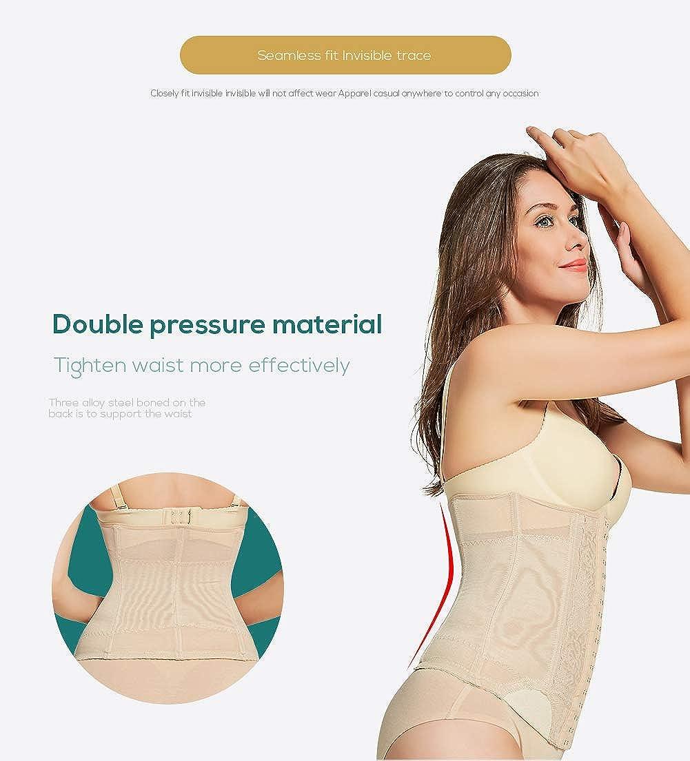 5ae0f2c85e3 AICONL Women s Miracle Waist Cincher Belt Tummy Control Underbust Corset  Slimming Waist Trimmer Body Shaper Girdle Black  Amazon.co.uk  Clothing