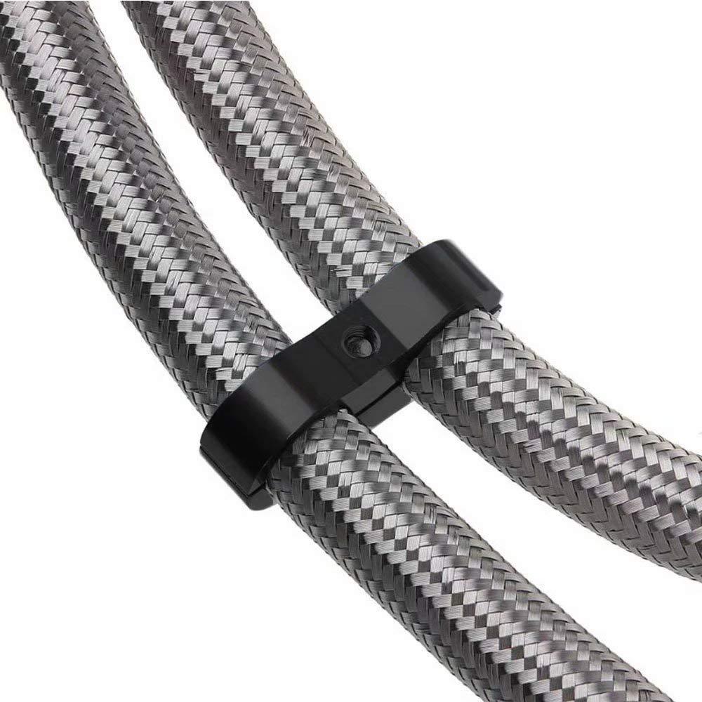 KingFurt 4PCS AN8 6A8 AN-8 Billet Aluminum Dual Oil Fuel Water Line Hose Separator Clamp Black