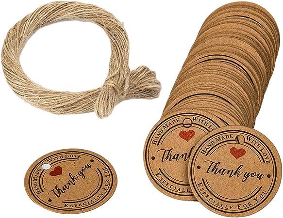 OUNONA 100 Etiquetas de Papel Kraft para Joyer/ía de Papel Etiquetas de Tarjeta para Embalaje de Boda
